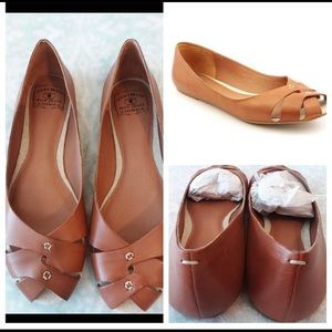 Lucky Brand Brown Leather Ester Flats Bombay 8.5